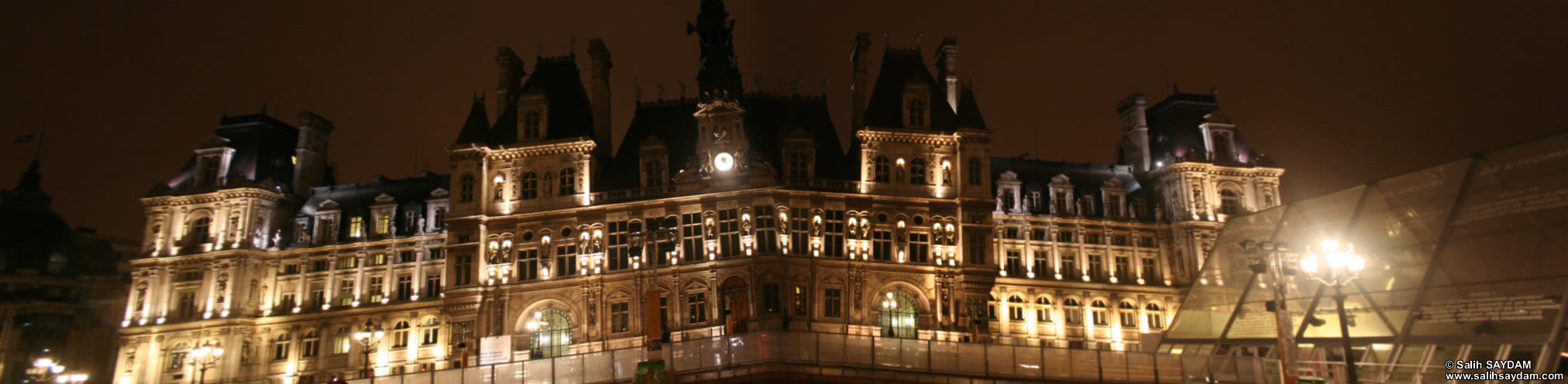 City Hall of Paris (Hôtel de Ville) Panorama 4 (At Night) (Paris, France)