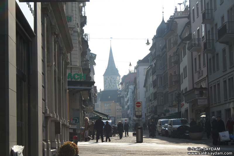Zurich Photo 7 (Rennweg and St.Peter's Clock Tower (The largest Clock Face in Europe)) (Switzerland)