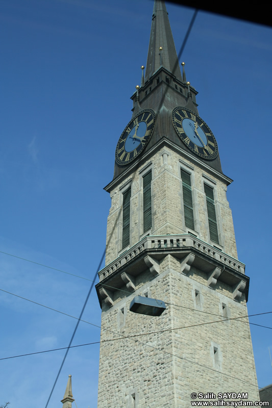 Zurich Photo 14 (Stauffacher Tram Stop and St.Jakob Church) (Switzerland)