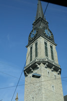 Zurich Photo 14 (Stauffacher Tram Stop and St. Jakob Church) (Switzerland)