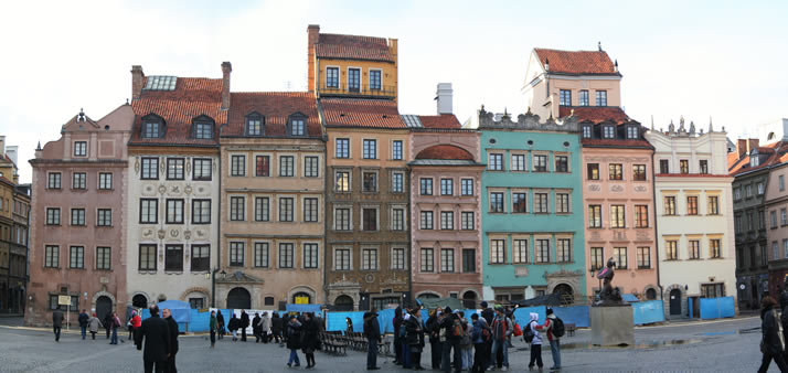 Panorama of Old Town Market Place 1 (Old Town, Warsaw, Poland)