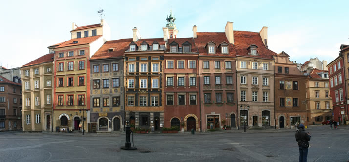 Panorama of Old Town Market Place 7 (Old Town, Warsaw, Poland)